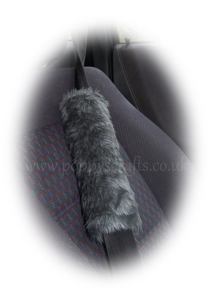 Charcoal Dark Grey Shoulder Strap Pad / Guitar / Car / Bag Furry And Fluffy