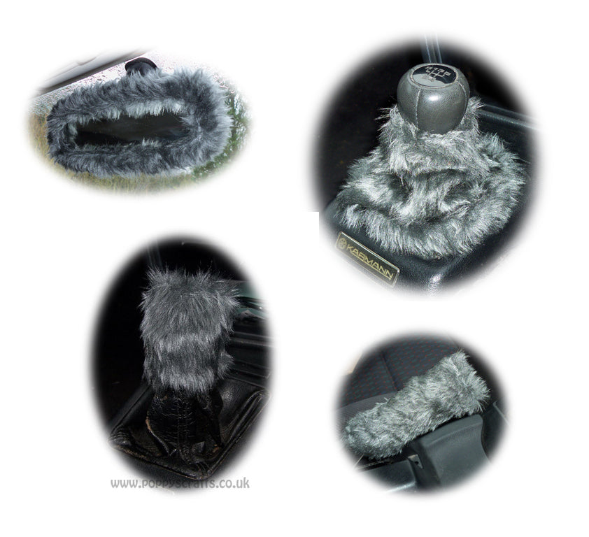 Cute Dark Grey fluffy faux fur car accessories 4 piece set