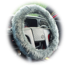 Dark Grey fluffy steering wheel cover and matching faux fur seatbelt pads - Poppys Crafts
