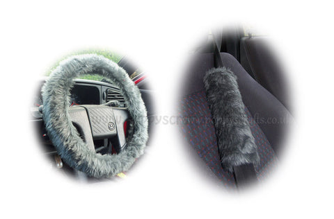 Dark Grey fluffy steering wheel cover and matching faux fur seatbelt pads