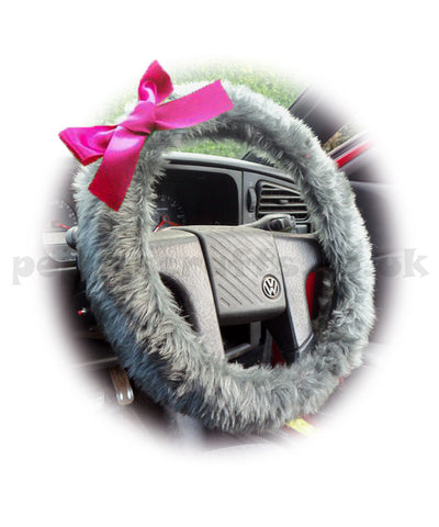 Dark Grey fuzzy faux fur car steering wheel cover with Barbie pink satin Bow