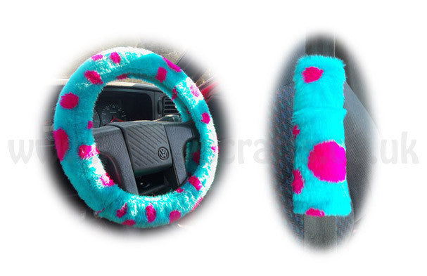Monster Spot fuzzy Sully Car Steering wheel cover & matching faux fur seatbelt pad set - Poppys Crafts