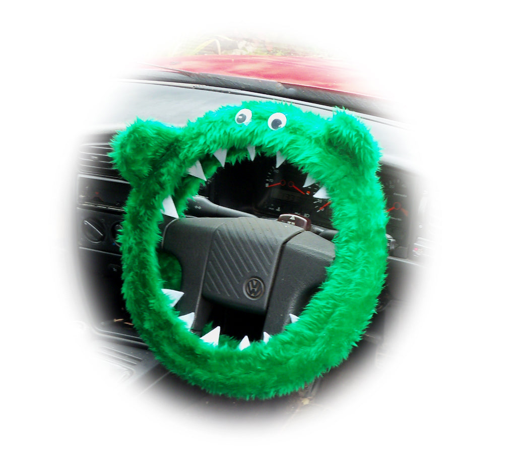Emerald Green fuzzy Monster car steering wheel cover