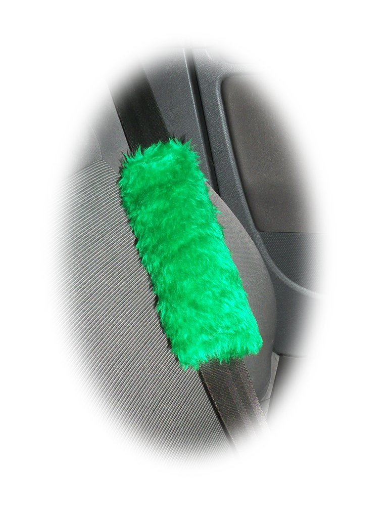 1 pair of Fuzzy faux fur Emerald Green car seatbelt pads furry and fluffy - Poppys Crafts