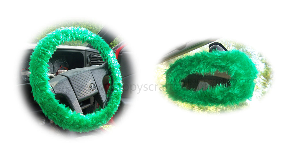 Emerald Green Fuzzy Steering Wheel Cover With Matching Rear View Mirror Cover