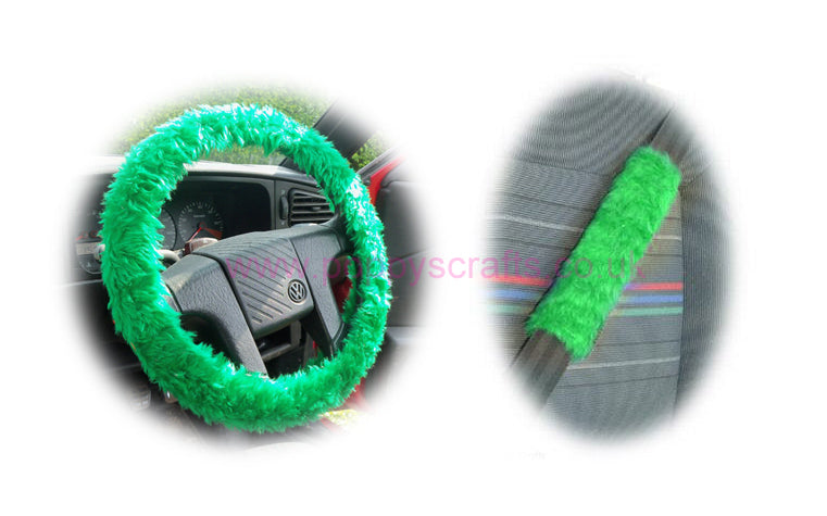 Emerald Green fluffy steering wheel cover and matching faux fur seatbelt pads
