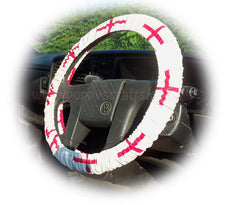 England flag Car Steering wheel cover & matching seatbelt pad set - Poppys Crafts  - 2