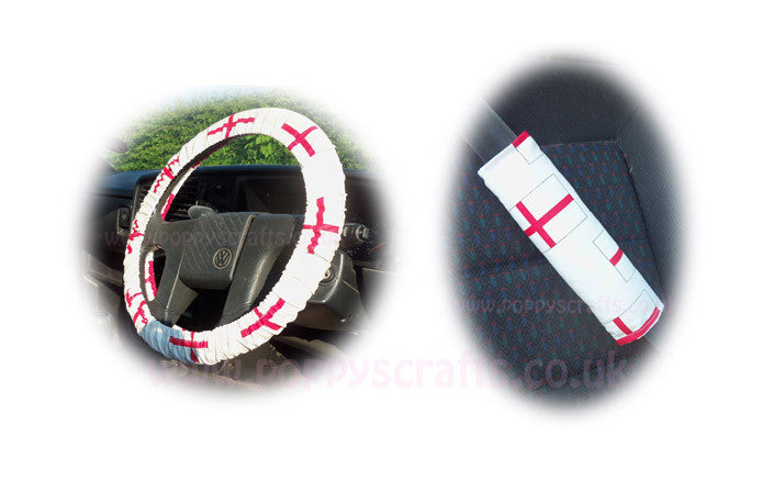 England flag Car Steering wheel cover & matching seatbelt pad set - Poppys Crafts  - 1
