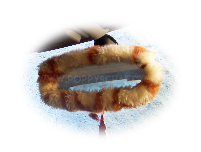 Giraffe print faux fur rear view interior mirror cover - Poppys Crafts