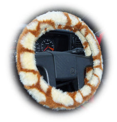 Giraffe print fuzzy Car Steering wheel cover & matching faux fur seatbelt pad set - Poppys Crafts