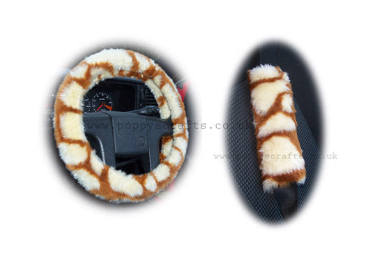 Giraffe print fuzzy Car Steering wheel cover & matching faux fur seatbelt pad set