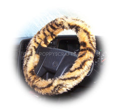 Gold Tiger stripe fuzzy faux fur car steering wheel cover - Poppys Crafts