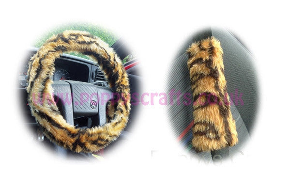 Gold Tiger print fuzzy Car Steering wheel cover & matching faux fur seatbelt pad set - Poppys Crafts  - 1