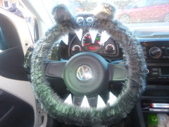 Dark Grey fuzzy monster steering wheel cover - Poppys Crafts