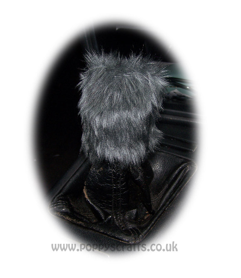 Fuzzy faux fur Dark Grey Gear knob cover cute - Poppys Crafts