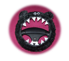 Fuzzy Monster Roar steering wheel cover Plain furry fur fluffy plain choice of colour / color car red blue black purple lilac yellow green pink - Poppys Crafts