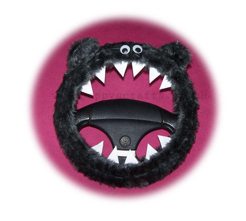 Dark Grey fuzzy monster steering wheel cover