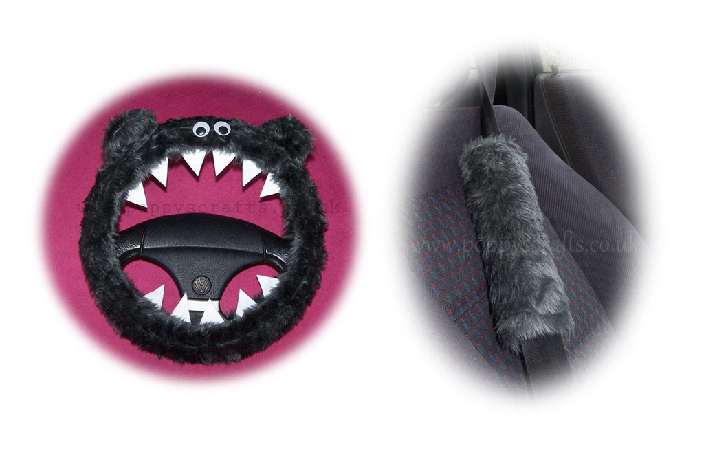 Fluffy Dark Grey Monster Car Steering wheel cover & fuzzy Dark Grey seatbelt pad set - Poppys Crafts