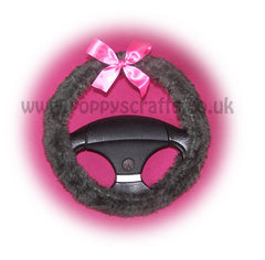 Dark Grey fuzzy faux fur car steering wheel cover with Barbie pink satin Bow - Poppys Crafts