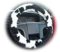 Black and White Cow print fuzzy car steering wheel cover furry and fluffy - Poppys Crafts  - 1