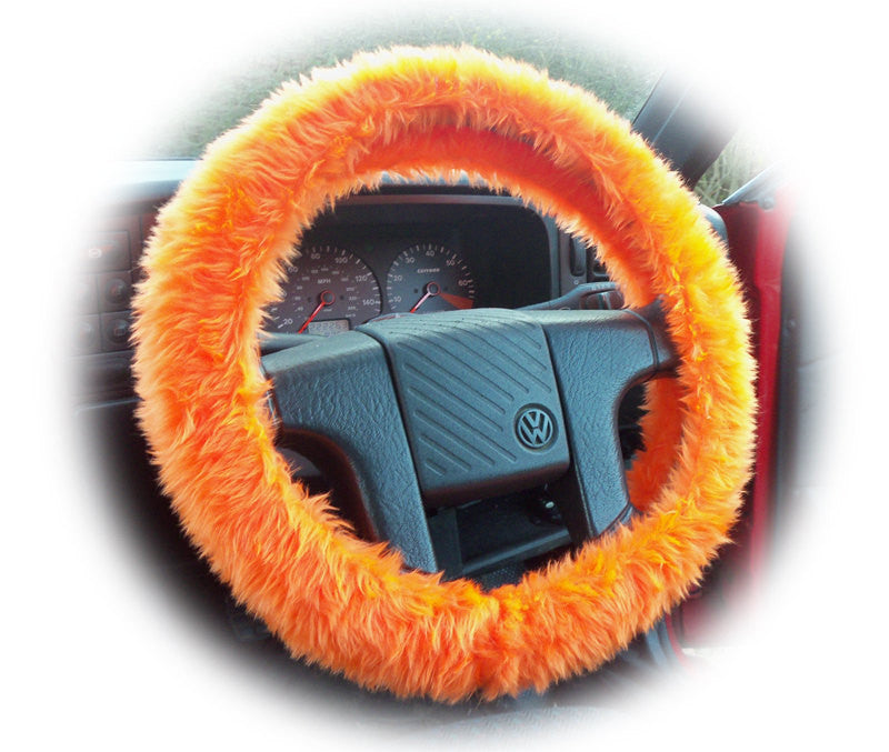 Bright Tangerine Orange Fuzzy faux fur Car Steering Wheel Cover