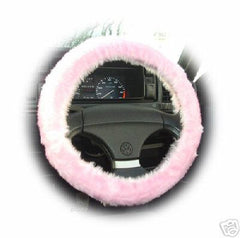 Pretty Baby pink fluffy Steering wheel cover and matching fuzzy seatbelt pads faux fur Girly girl Cute car accessories - Poppys Crafts  - 4