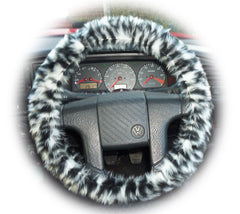 Pretty Snow leopard fuzzy faux fur car steering wheel cover furry animal print like cheetah - Poppys Crafts  - 2