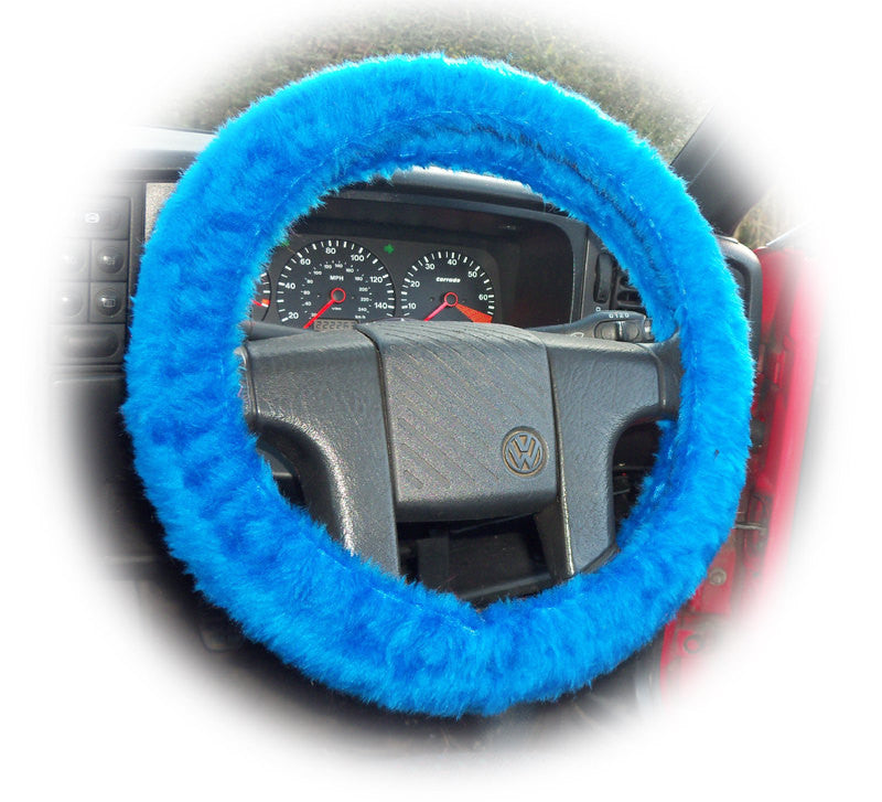 Faux fur Royal Blue fuzzy car steering wheel cover fluffy furry car accessories - Poppys Crafts  - 1