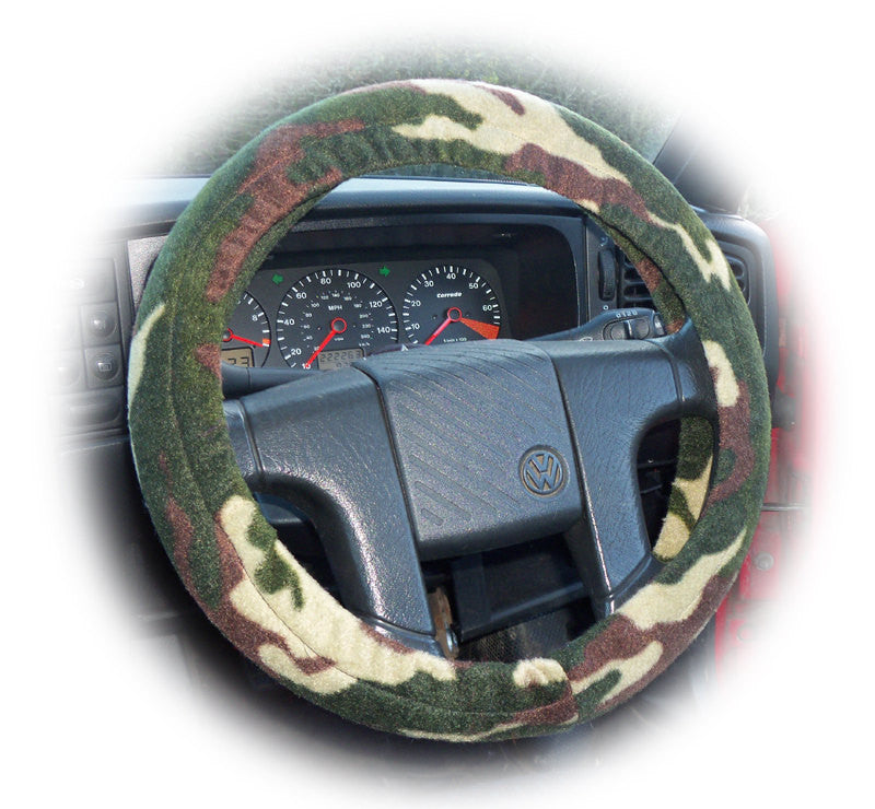 Army Camouflage Camo print green and khaki fleece car steering wheel cover - Poppys Crafts
