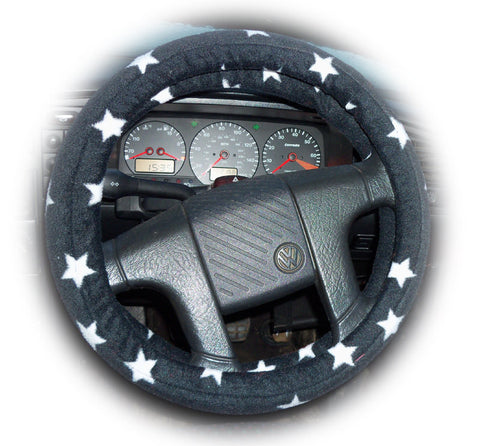 Pretty Black and white Star print fleece car steering wheel cover