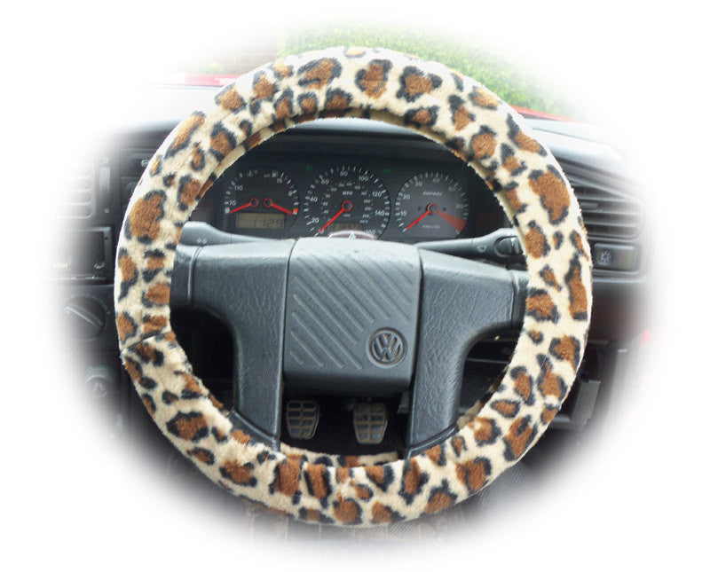 Lovely Leopard print fleece car steering wheel cover - Poppys Crafts