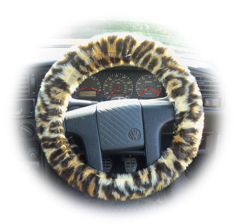 Jaguar print fuzzy faux fur car steering wheel cover - Poppys Crafts
