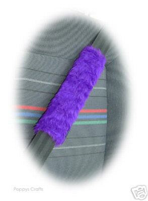 Fuzzy faux fur Purple car seatbelt pads 1 pair