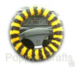 Busy Bumble Bee striped fuzzy car steering wheel cover - Poppys Crafts  - 2