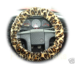 Leopard Print fuzzy faux fur fluffy car steering wheel cover cheetah animal print - Poppys Crafts - 2