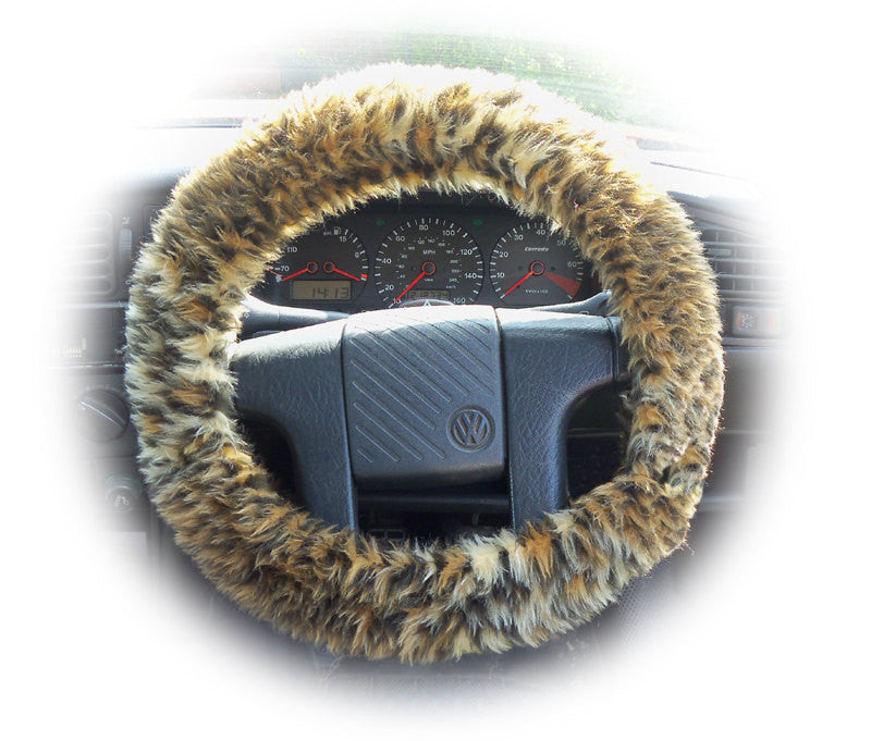 Baby Leopard cub car steering wheel cover fluffy and furry - Poppys Crafts
