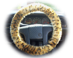 Cheetah print fuzzy car steering wheel cover - Poppys Crafts  - 2