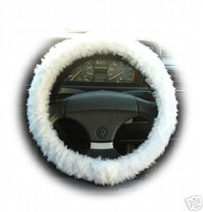 Pretty White fuzzy faux fur car steering wheel cover - Poppys Crafts  - 2