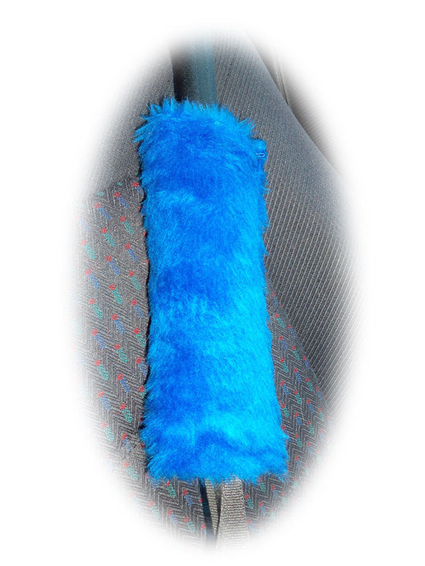 1 pair of Fuzzy royal blue fluffy car seatbelt pads faux fur - Poppys Crafts