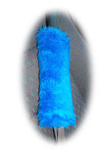 1 pair of Fuzzy royal blue fluffy car seatbelt pads faux fur