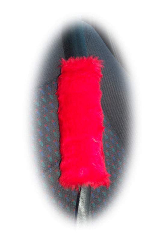 Red fuzzy faux fur shoulder strap pad single - Poppys Crafts