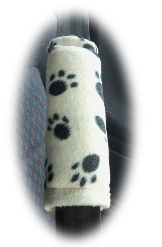 1 pair of fleece paw print car seatbelt pads white and black and multicolour - Poppys Crafts