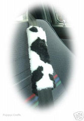 Black And White Cow Print Fuzzy Car Seatbelt Pads 1 Pair