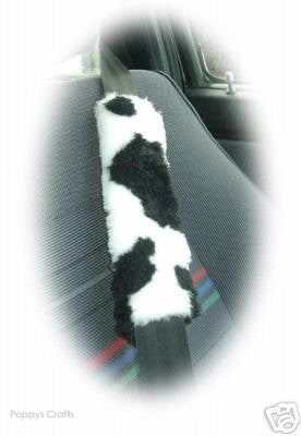 Cow car seatbelt pads black and white print furry fluffy fuzzy faux fur