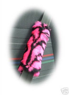 Pink and black tiger stripe fuzzy faux fur seatbelt pads 1 pair