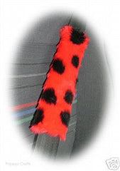 ladybird spotty fuzzy car seatbelt pads red and black 1 pair - Poppys Crafts  - 1