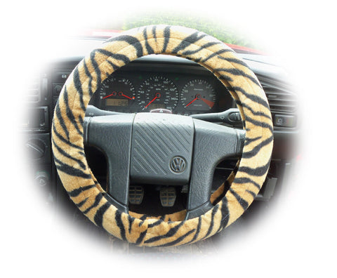 Gold and black tiger stripe fleece car steering wheel cover