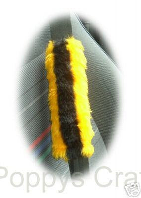 Bumble Bee stripey faux fur seatbelt pads 1 pair