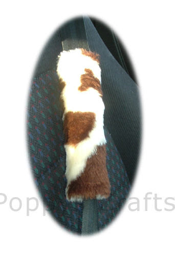Brown and cream cow print fuzzy car seatbelt pads 1 pair - Poppys Crafts