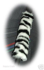 Zebra print fuzzy car seatbelt pads black and white stripe 1 pair - Poppys Crafts